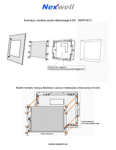 NXW102.2 – Schemat montazu – ramka metalowa