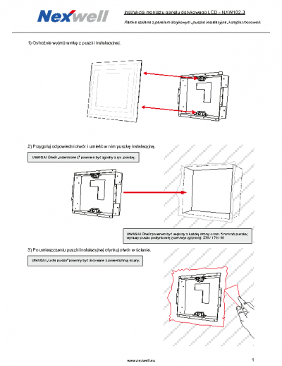 NXW102.3 – Schemat montazu ramki szklanej